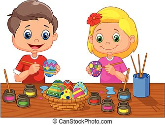 Little kids cartoon painting Easter