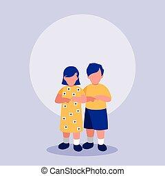 little kids couple characters vector illustration design