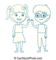 little kids couple characters vector illustration design