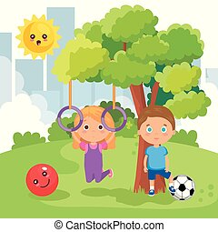 little kids couple playing on the park vector illustration...