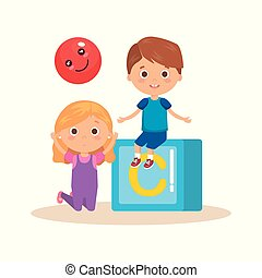 little kids couple playing with block vector illustration...