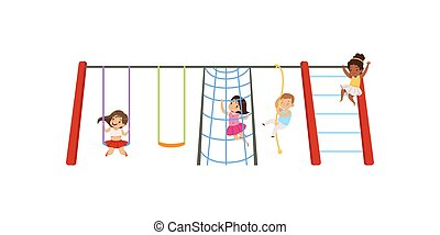Little kids having fun on playground, children swinging on swing, climbing up ladder and rope vector Illustration on a white background