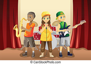 A vector illustration of little kids playing music in a music band