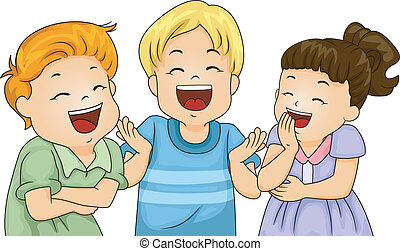 Little Kids Laughing - Illustration of Little Male and...
