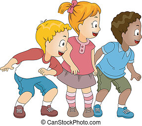 Little Kids Looking Right - Illustration of Happy Little...