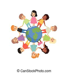 Little kids of different nationalities standing and holding hands around the Earth globe, friendship, unity concept vector Illustration on a white background