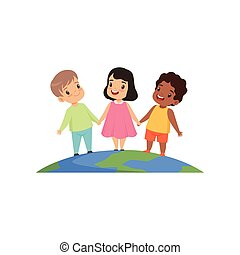 Little kids of different nationalities standing and holding hands on the earth globe vector Illustration on a white background