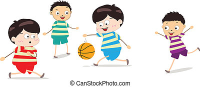 Little Kids Playing Basketball