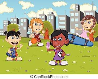 Little kids playing skateboard
