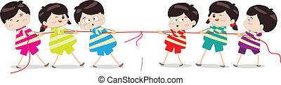 Little Kids playing Tug of War