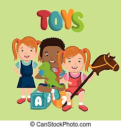 little kids playing with toys characters
