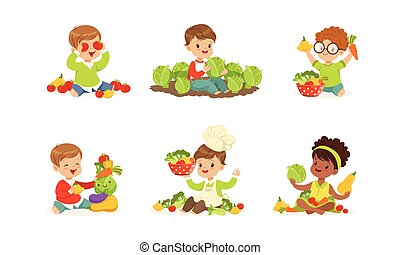 Little Kids Playing with Vegetables Vector Set