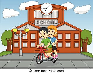 Little kids riding a bicycle