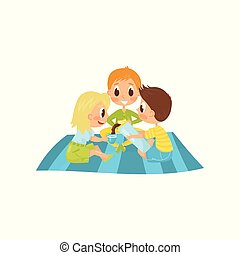 Little kids sitting on picnic carpet and drinking tea. Boy pouring hot chocolate from thermos bottle. Summer recreation. Flat vector design