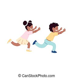little kids smiling running cartoon