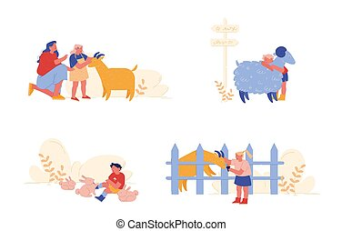 Little Kids Visit Farming with Parents. Children Characters Petting Domestic Animals Care of Sheep, Rabbits and Goat. Mother, Girl and Boy Spend Time on Weekend. Cartoon People Vector Illustration