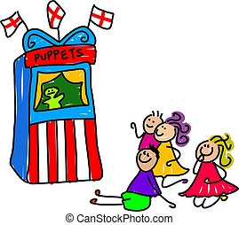 puppet show - little kids watching a puppet show - toddler...
