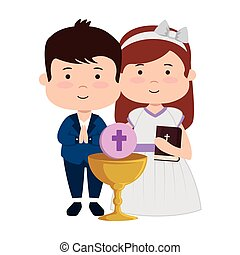 little kids with chalice and bible first communion