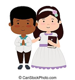little kids with holy bible first communion character
