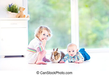 Little kids with real bunny - Adorable little kids with...