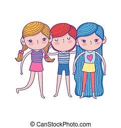 little kids with swimwear characters