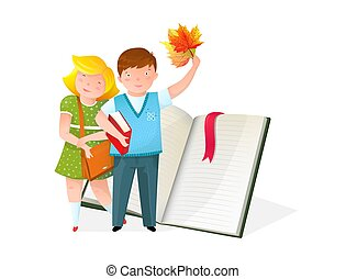 Little kids with textbook flat vector illustration - Little...