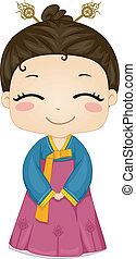 Little Korean Girl wearing National Costume - Illustration...