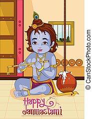 Little Krishna playing bansuri flute on Janmashtami...