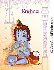 Little Krishna playing bansuri flute on Janmashtami...