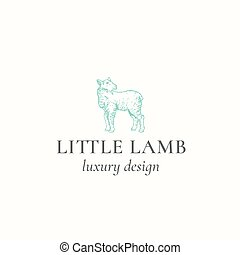 Little Lamb Abstract Vector Sign, Symbol or Logo Template....