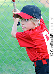 Little league baseball boy portrait - Portrait of Little...