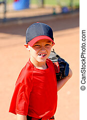 Little league baseball player up close