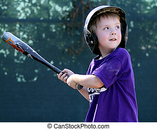Little League Batter waiting for the baseball