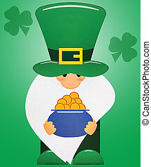 Little Leprechaun with Shamrocks and a Pot of Gold with Clipping Path on Green
