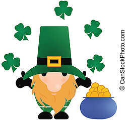 Little Leprechaun with Shamrocks and a Pot of Gold with Clipping Path on White