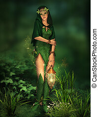 Little Light in the Deep Forest - a deep forest fairy with a...