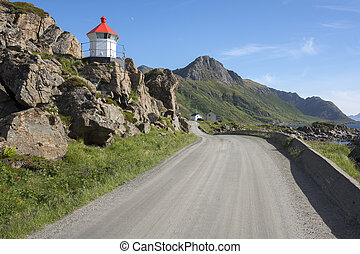 Little lighthouse in the port of Niksund