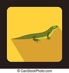 Little lizard icon, flat style