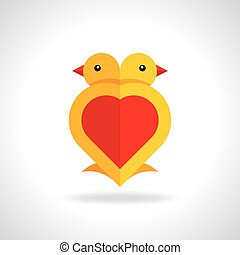 Little love birds. Vector of little love birds. Happy Valentine's day!