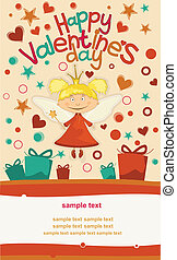 Greeting Card Valentine's Day with a cute little fairy