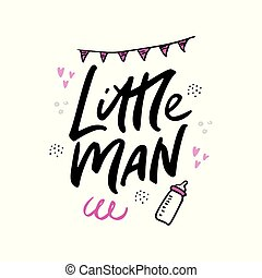 Little man lettering hand drawn illustration