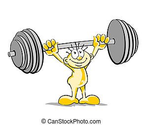 Little man lifting weights - Conceptual illustration of a...