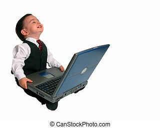 Little Man w/Laptop - A very happy little business man ...