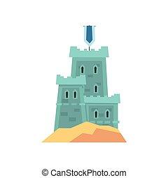 Little medieval fortress in blue color. Old royal castle on hill. Historical building. Flat vector design for children s book, landmark icon or mobile game