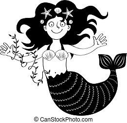 little mermaid bw - Vector silhouette of a little mermaid ...