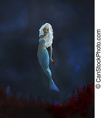 Little Mermaid - Little mermaid crying blood with a red rose...