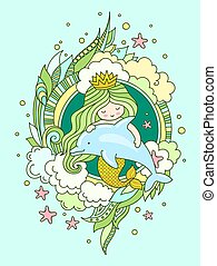 Little mermaid, floating with dolphin. Siren, surrounded by green seaweed, clouds and starfish, fish.