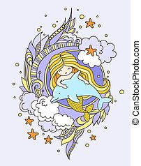 Little mermaid, floating with dolphin. Siren, surrounded by violet seaweed, clouds and starfish, fish. Vector illustration, print, poster, postcard.