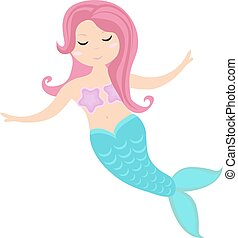 Little mermaid icon, flat style. Mythical sea princess....