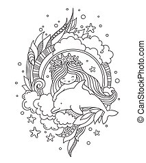 Little mermaid in a wreath of starfish, with cute dolphin, surrounded by clouds, seaweed.